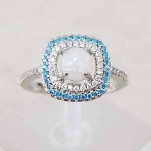 Sterling Blue Halo Opal Ring